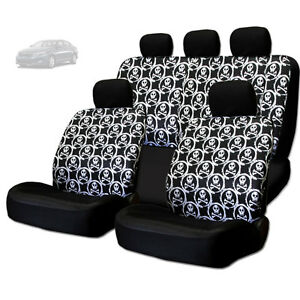 NEW COOL SKULL DESIGN FRONT AND REAR CAR SEAT COVERS SET ...
