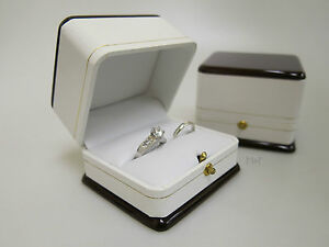 Bride Groom Ring Box Large Luxury Wood Leather Feel Double
