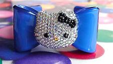 Handmade Crystal Silver Rhinestones hello kitty Blue Acrylic Bow Bangle Bracelet