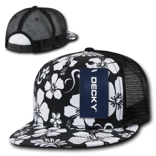 Floral Print TRUCKER HAT 5 Panel Cap retro mesh snapback Black /& White Hawaiian