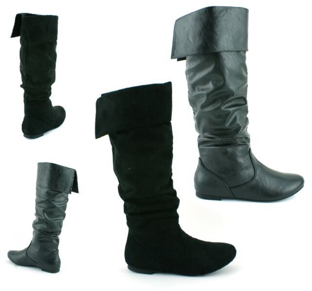 LADIES WOMENS GIRLS NEW FLAT HEEL SLOUCH CALF PULL ON KNEE HIGH BOOTS SHOES SIZE