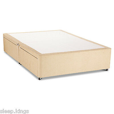 NEW  4FT SMALL DOUBLE CREAM CHENILEE DIVAN BASE WITH UNDER BED STORAGE