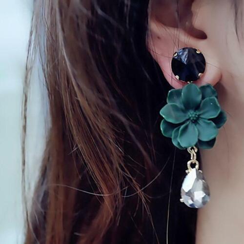 Women Jewelry Dangle Ear Stud Earrings Elegant Flower Water Drop Pendant FI