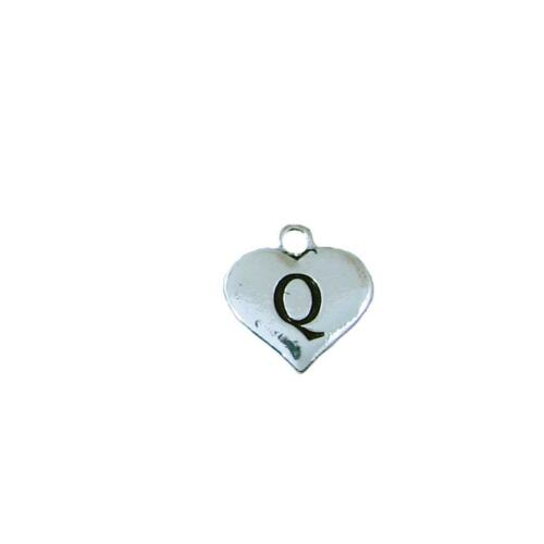 Custom Black Heart Maid of Honor Silver Necklace Jewelry Choose Initial All 26