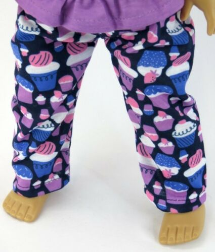 "Doll Clothes 18/"" Lavender Pajama Pants Shorts Top Cupcake  Fits AG Dolls"