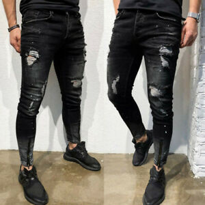 Men-039-s-Stretchy-Ripped-Skinny-Biker-Jeans-Destroyed-Taped-Slim-Fit-Pants-Trousers