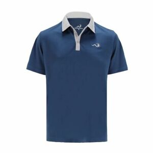 Woodworm Solid Tech Golf Polo Shirt (Navy/Grey)