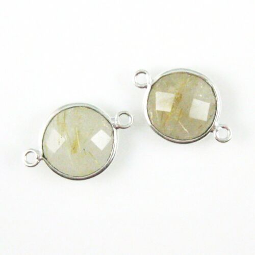 Faceted Coin Link Bezel Gemstone Connector 2 Pcs Sterling Silver Charm
