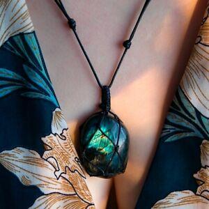 Women-Wrap-Mens-Natural-Stone-Crystal-Moonstone-Necklace-Labradorite-Pendant