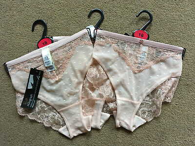New M/&S Autograph 3 Pairs Ladies Silk With French Designed Brazilian Size 28