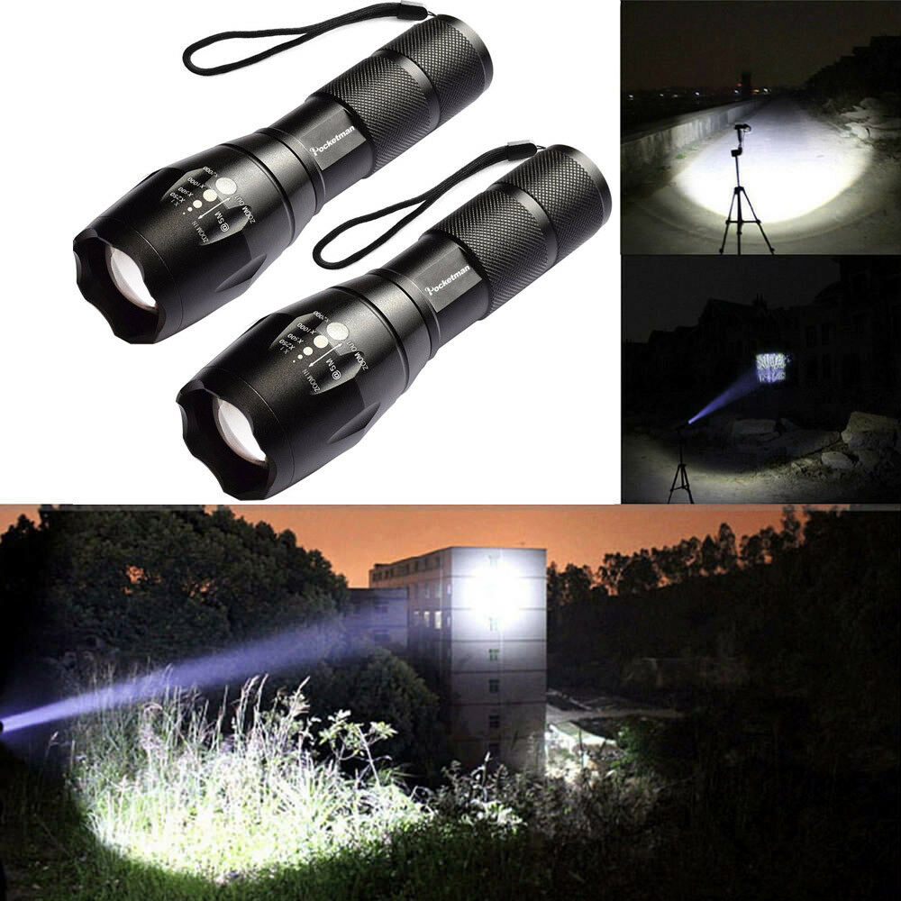 T6 Tactical Military LED Flashlight Torch 50000LM Zoomable 5-Mode for 18650 4