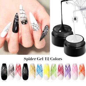 12 Colores 5ml Spider Esmalte Gel UV para uñas Arte Gel de línea de tracción Pintura elástico grueso Hazlo tú mismo