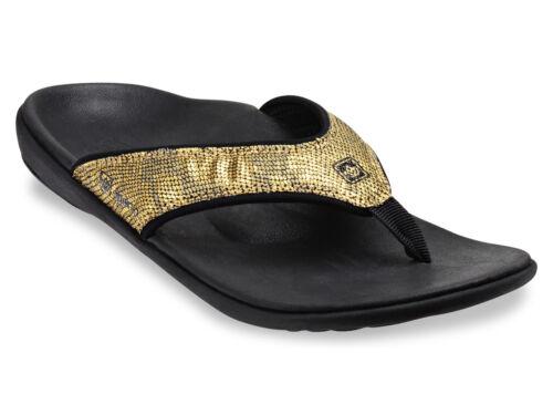 Women/'s Spenco Total Support Orthotic Gold Python Flip Flops Sandals Sz 7