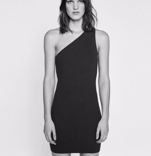 081443e3c0d NEW Zara Knit One Shoulder Ribbed Bodycon Dress Medium BLACK