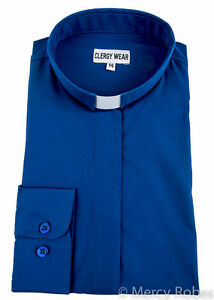 Womens Clergy Shirt (Royal Blue), Tab Collar, Long Sleeve, Pastor ...