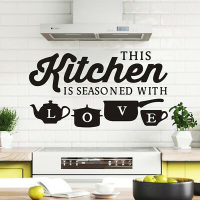 AM/_ Kitchen Pot Cup Love Wall Stickers Art Dining Room Removable Decals 3D DIY D