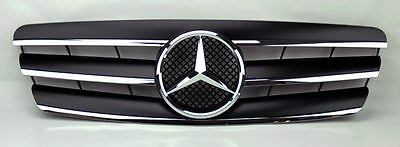 Mercedes C Class W203 4Dr 01-07 3 Fence Front Hood Sport Black Grill Grille
