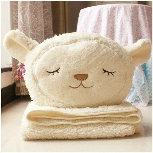 very cute plush toy gift dual-use Dolly sheep cushion/air-condition blanket 1pc