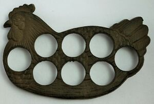 Chicken Kitchen Decor vintage styled large cast iron hen egg holder unique farm chicken
