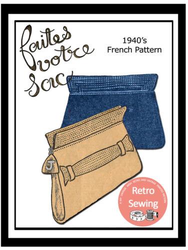 1940s CLUTCH HANDBAG francese Sewing Pattern