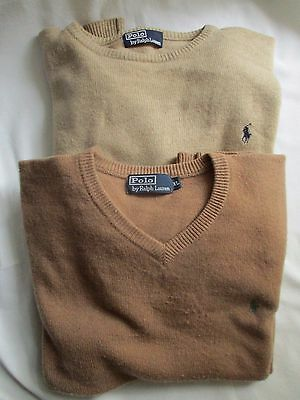 2 Maglione Polo Ralph Lauren In Xl Sabbia + Marrone Tondo Collo E Scollo A V-