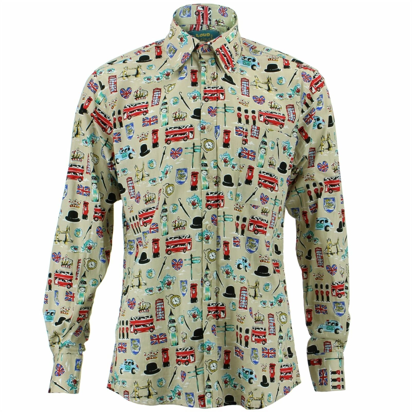Herren Shirt Loud Originals Regular Fit London Beige Retro Psychedelic Kostüm | Räumungsverkauf