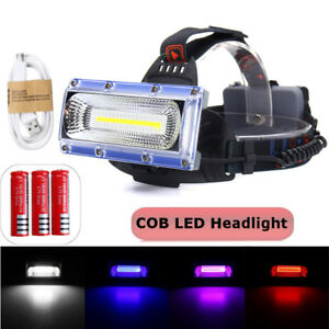 Lampe-Frontale-Phare-Headlamp-LED-COB-18650-USB-Rechargeable-Lumiere-Velo-Torche