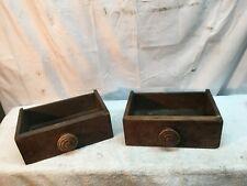 Vintage Pair Industrial Wood Drawer Parts Bin Shelf Letter Box Wood Knob