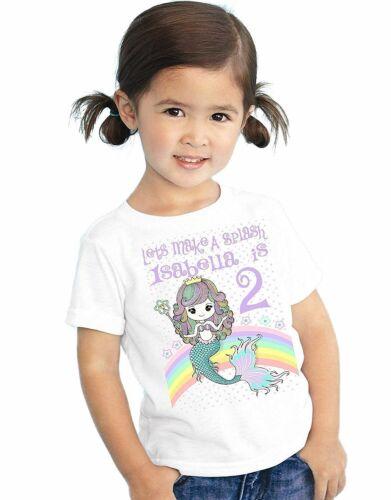Cute Birthday Personalized Mermaid Rainbow T Shirt Girls Kids Toddler Name Age
