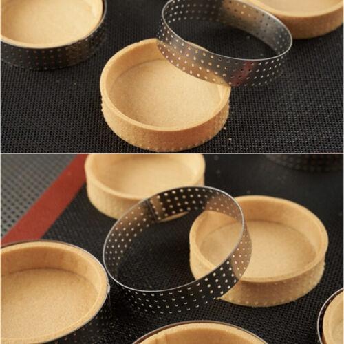 5Pcs Dessert Bakeware Perforated Cutter Circle Cake Mold Mousse Tart Ring Tool