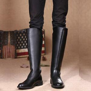 Men-039-s-Military-Riding-Cowboy-Pull-on-Knee-High-Equestrian-Boots-Round-Toe-Shoes