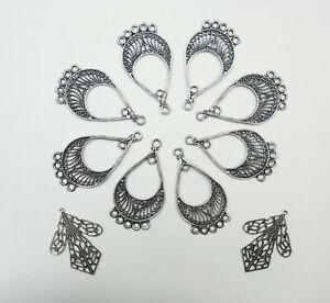 10-Filigree-Teardrops-Chandelier-Earring-Findings-Ant-Silver-Finish-10-pcs