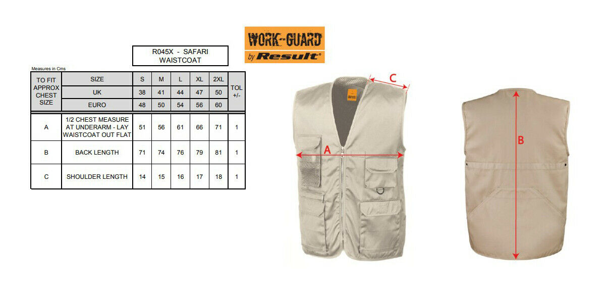 -PPE Gillet Bodywarmer R045X Result Work-Guard Men/'s Adventure Safari Waistcoat