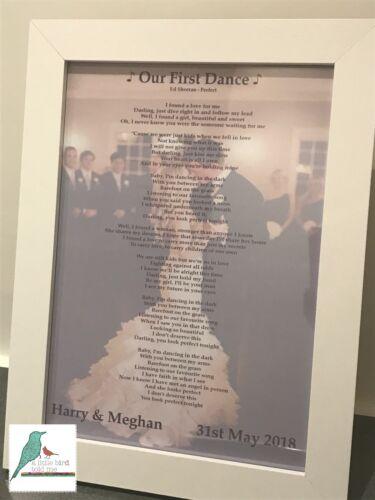 First Dance song lyrics personalised photograph print wedding anniversary