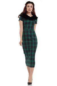 VOODOO-VIXEN-GREEN-Rachel-Tartan-Pencil-Dress-With-Fur-Collar-DRA8290-UK8-14