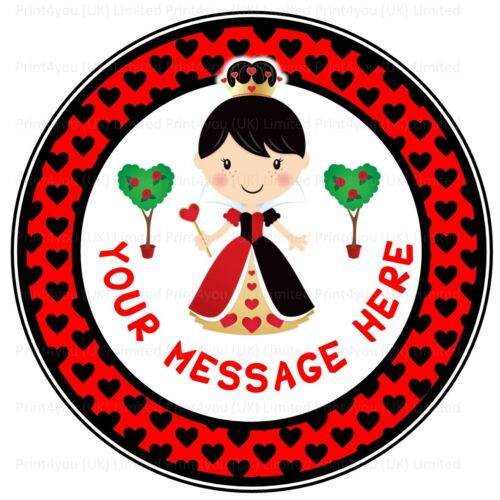 ND3 Queen of hearts birthday personalised round cake topper edible icing