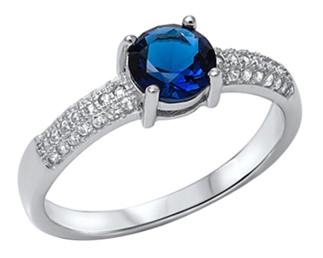 New Sterling Silver Round Blue Sapphire CZ Ring