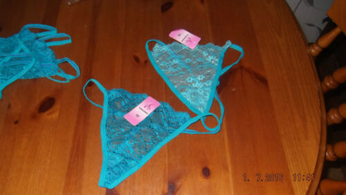 size small deep turquoise blue floral lace g-string