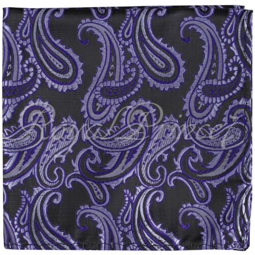 New Men Paisley Handkerchief Only Pocket Square Hanky PURPLE BLACK Wedding Party