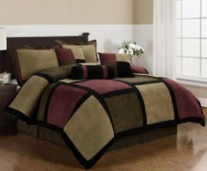 Micro-Suede-Brown-Burgundy-Black-Patchwork-7-Piece-Comforter-Set-Queen