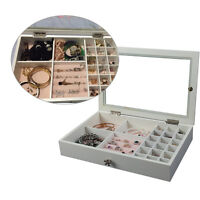 Jewelry Ring Necklace Display Organizer Box Tray Holder Earring Case Storage