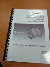 PANASONIC LUMIX DMC FZ45 USER MANUAL GUIDE INSTRUCTIONS PRINTED 223 PAGES