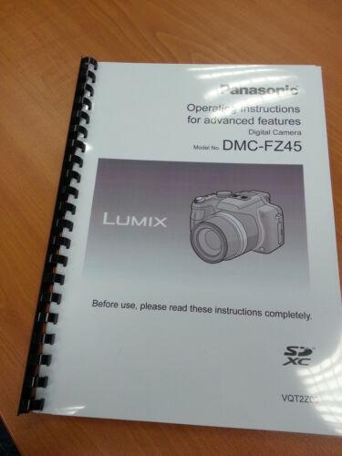 PANASONIC LUMIX DMC FZ45 USER MANUAL GUIDE INSTRUCTIONS PRINTED 223 PAGES