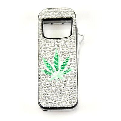 """Refillable Butane Lighter & Bottle Opener White """"Marijuana"""" LED Lighter"""