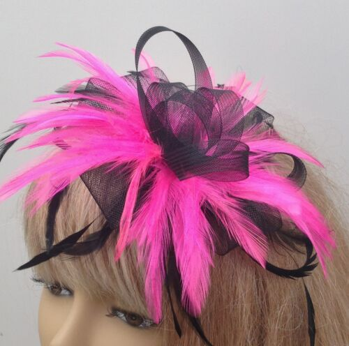 Black//Pink Feather Fascinator On Comb Weddings Mother Of The Bride//Groom Races