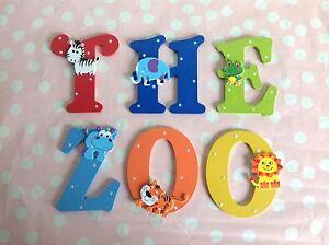 Children-Bedroom-Nursery-Wall-Door-Wooden-Name-Letter-Alphabet-JUNGLE-ANIMALS