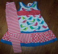Jelly The Pug Pink Colorful Birds Gracie Dress/leggings Set 10 Girls Blue
