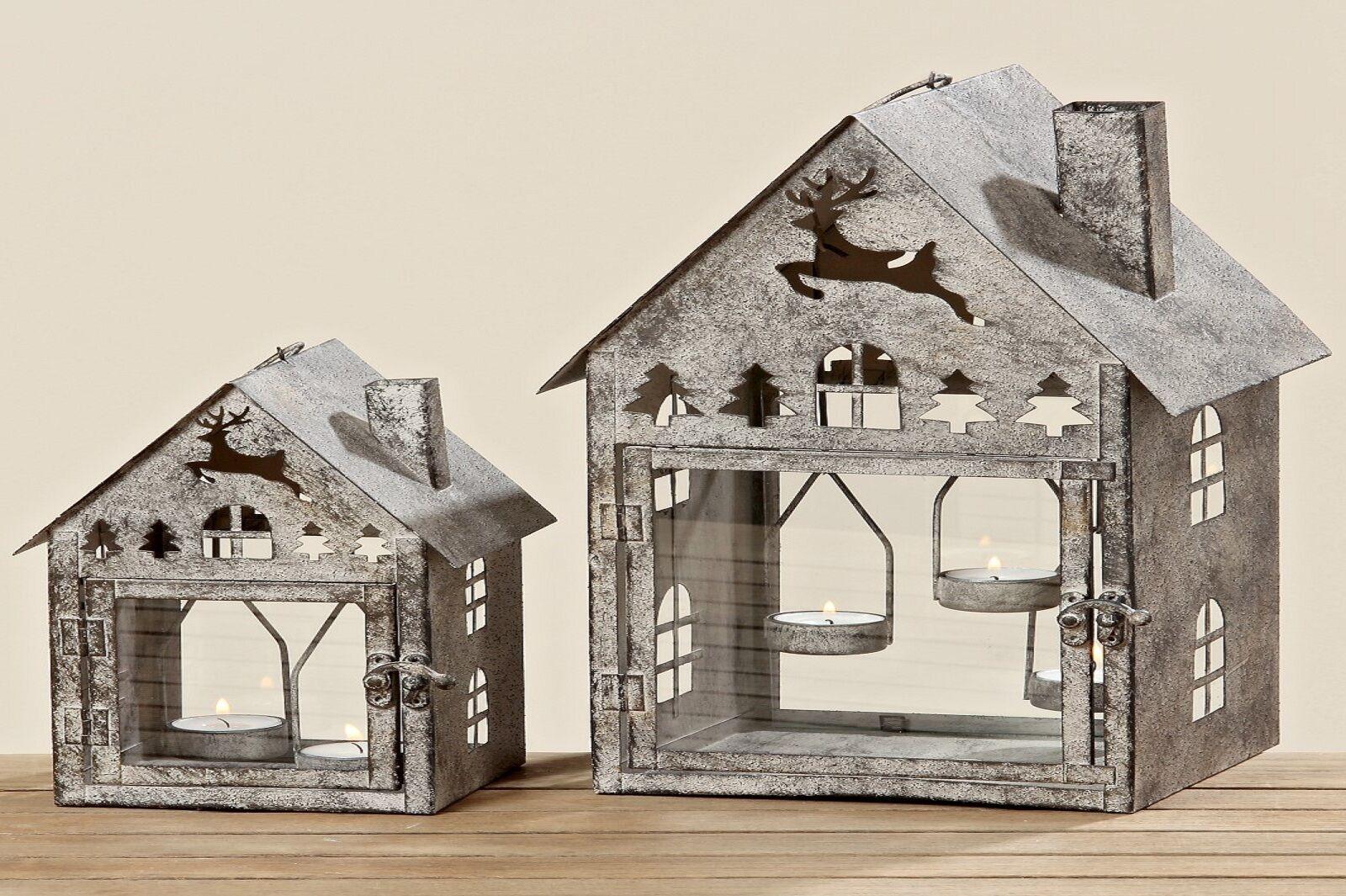 Laterne Windlicht Metall mit Hirschmotiv Laternenhaus H23-36 H23-36 H23-36 cm  2er Set | Elegante Und Stabile Verpackung  805f00
