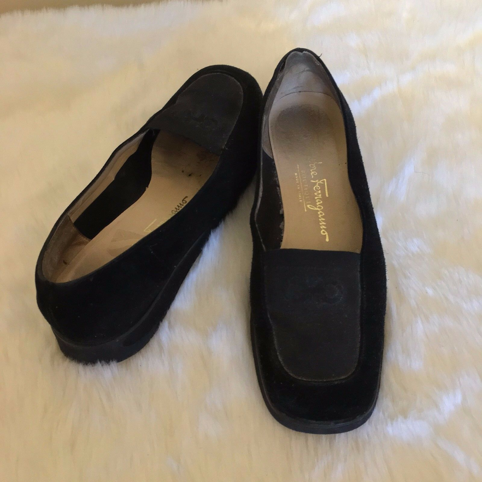 VINTAGE Salvatore Ferragamo Boutique Women's Black Slipon Loafers SIZE 7.5M