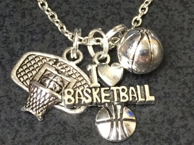 Basketball Charm and Pendant heart 925 Sterling Silver Antique I